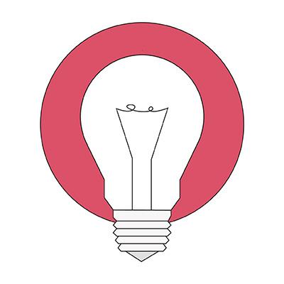 Illustration Glühbirne, Symbol für Innovation