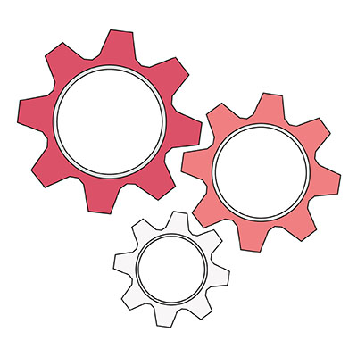 Illustration Zahnräder, Symbol für Qualifikation