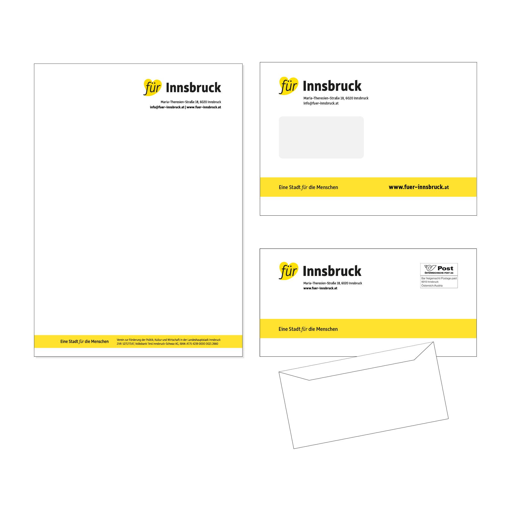 """Briefpapier und Briefkuvert """"Für Innsbruck"""""""